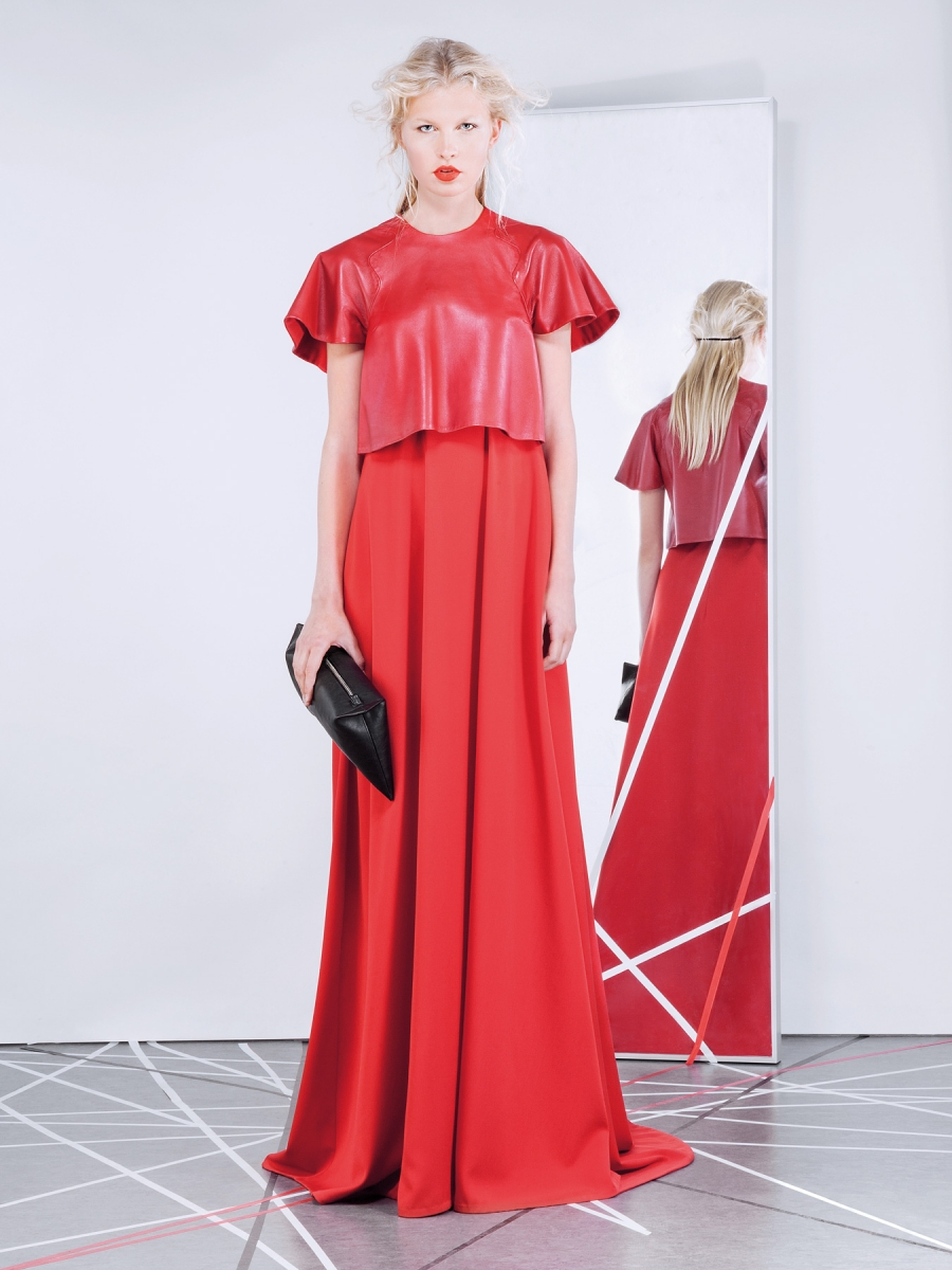 icon gown with leather top