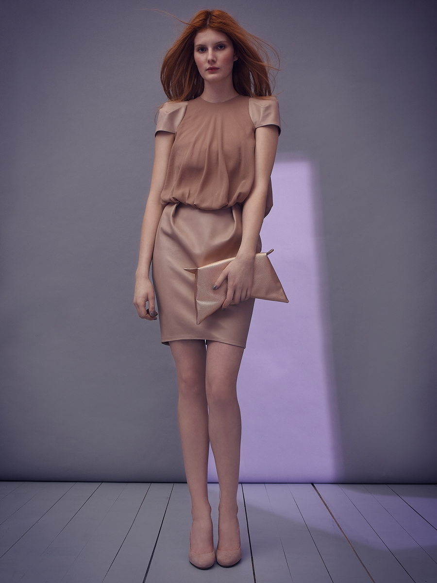 alia dress with leather parts